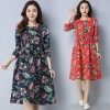 Casual O Neck A Line Knee Length Dress For Women Chinese Style Pockets Autumn Loose Fit Comfortable Dress