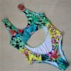 Cut Out One Piece Swimsuit Leaf Flower Printed Swimming Suits Sexy Beach Summer Bikini For Women Extra Image 2