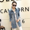 Denim Jacket Women Fashion New Back Printed Basic Coats Long Vintage Jean Jacket Casual Slim Four Pockets Outwear Extra Image 5