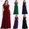 Exclusive Long Evening Dresses Simple Dark Green Chiffon Plus Size O Neck Appliques Lace A Line Formal Party Dress
