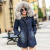 Fashion Casual Big Faux Fur Hooded Thick Warm Outwear New Winter Coat Denim Jackets Women Long Cotton Padded Jeans Extra Image 4