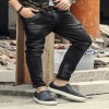 Fashion Vintage Mens Ripped Jeans Pants Slim Fit Distressed Hip Hop Denim pants new spring men black stretch jeans Extra Image 6