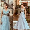 Long Bridesmaids Dresses Pretty Elegant Sequins A Line V Neck Tulle Wedding Party Gowns Prom Dresses For Ladies Extra Image 2
