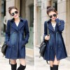 Long Denim Jackets Women New Korean Autumn Vintage Fashion Basic Slim Coats Double Breasted Casual Outerwear Extra Image 2