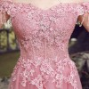 Long Embroidery Evening Dress The Bride Slim Sexy Sweep Train Long Prom Dress Custom Party Gown Pink Lace Formal Extra Image 5
