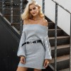 Long knitted sweater dress Women elegant loose winter pullover dress Autumn batwing sleeve gray sweater jumper Extra Image 5