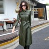 Long Leather Jacket Women Fashion Coat Female Plus Size Turn Collar Single Covered Button Leather Outerwear For Ladies