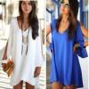 Loose Chiffon Casual Beach Dress V Neck A Line Off Shoulder Long Sleeve Bodycon Women Dress Thigh High Dresses Extra Image 2