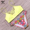 Low Waist Two Piece Swimsuits For Female Cross Bandage Beach Bathing Suits Halter Bikini Set Padded Suit Extra Image 1