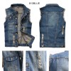 Mens Denim Vest Jackets Classic Cowboy Style Slim Regular Type Cotton Wash Distressed Hiphop Male Big Size Denims Extra Image 5