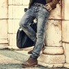 Mens Retro ripped jeans mens solid Washing denim jeans new Korean style casual trousers stretch man denim pants Extra Image 2