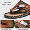 Merkmak Luxury Brand New Mens Flip Flops Genuine Leather Slippers Summer Fashion Beach Sandals Shoes For Men Extra Image 3