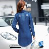 New Brand Women Fashion Jeans Jacket Vintage Plus Size Autumn Casual Long Sleeve Hole Stretch Long Denim Jacket Coat Extra Image 6