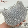 New Evening Shining Rhinestone Kitty Clutch Party Wedding Bags Women Thumbnail