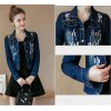 New Spring Autumn Sequined Embroidery Denim Jacket Women Fashion Slim Beading Short Jeans Overcoat Ladies Extra Image 6