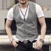 new spring summer Khaki color single breasted cotton linen vest casual mens suit vest wedding waistcoat brand clothing Extra Image 2