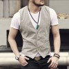 new spring summer Khaki color single breasted cotton linen vest casual mens suit vest wedding waistcoat brand clothing Extra Image 3