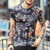 New Spring Summer T Shirts For Men Short Sleeved Cotton Casual Tops Tees Fitness Clothing For Men Extra Image 3