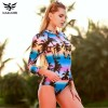 One Piece Swimsuit Long Sleeve Swimwear Women Bathing Suit Swimsuit Print Floral One Piece Swim Suits Surfing Wear Extra Image 2