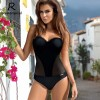 One Piece Swimsuit Sexy Women Push Up Swimwear Solid Bodysuit Bandage Cut Out Beach Bathing Suit Monokini Extra Image 1