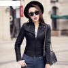 Plus Size New Fashion Spring Autumn Women Leather Coat Female Slim Black Leather Jacket PU Zippers Motorcycle Outerwear Extra Image 2
