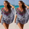 Plus Size Summer Beach Dress Tunic Blouse Brazilian Style Beach Cover Ups Bathing Suits Zebra Printed Summer Outfits Extra Image 2