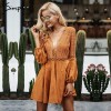 Sexy lace up Dress v neck suede lace women Hollow out flare sleeve backless winter dress Autumn dress party robe femme