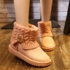 Snow Boots Women Thick Fur Warm Flat Platform Cotton Knit Woolen Yarn Ankle Boots Winter Shoes For Women