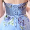 SSYFashion New Light Blue Strapless Lace Flower Evening Dress Bride Banquet Sweet Embroidery Long Prom Party Dresses Extra Image 4
