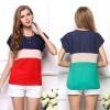 Summer Fashion Women T Shirts Fresh Collection 2018 Blouse Horizontal Stripe Patchwork Tops For Women Extra Image 4