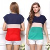 Summer Fashion Women T Shirts Fresh Collection 2018 Blouse Horizontal Stripe Patchwork Tops For Women Extra Image 5
