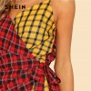 Two Tone Plaid Wrap Cami Romper V Neck Spaghetti Strap Sleeveless Women Checked Suits Casual Cotton Romper Extra Image 4