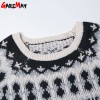 Warm Pattern Pullover Korean Retro Sweater Loose O Neck Knitted Pullover For Women Extra Images 4