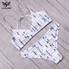 White Sexy Bikini Swimwear For Women Halter Printed Brazilian Bikini Set Bandage Swimwear For Girls Extra Image 4