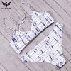White Sexy Bikini Swimwear For Women Halter Printed Brazilian Bikini Set Bandage Swimwear For Girls Extra Image 5