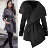 Winter Cardigan Coat Female Solid Color Belt Big Turn Down Collar With Pockets Coat Jacket For Women Outerwear Extra Image 3