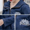 Women Ripped Jackets New Fashion Casual Hooded Denim Jacket For Woman Ladies Jeans Outwear Long Sleeve Zipper Coat Extra Image 5