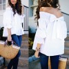 Women Sexy Off Shoulder Bow knot Long Sleeve Autumn Winter Shirt Blousa Loose Fashion Solid Color T Shirt Tops Extra Image 4