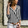 Women Striped Blouse Shirt Long Sleeve Blouse Shirts Casual V Neck Tops Blouse Mujer de Moda 2019 Extra Image 4