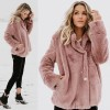 Woolen Sweater Loose Turn down Collar Winter Warm Coat With Pockets Women Fleece Jumper Faux Fur Coat Hoodie Outwear