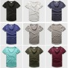 Zecmos Fashion Men Shirt With V Neck T Shirts For Men Male Luxury Cotton Plain Solid Curved Hem Top Tees Short Sleeve Extra Image 5