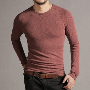 2018 Collection Of Summer Tops And Tees For Men Raglan Sleeve Slim Fit Long Sleeve Cotton T Shirts European Style