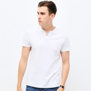 2018 Fashion Brand Clothing Tshirt Men V Neck Slim Fit Short Sleeve T Shirt Men Mercerized Cotton Casual T Shirts
