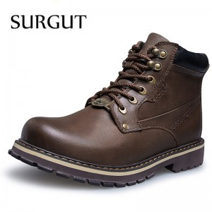 2018 Mens Genuine Leather Boots Winter Warm Fur Working Boots Mountain Shoes Vintage High Quality Men Ankle Boots