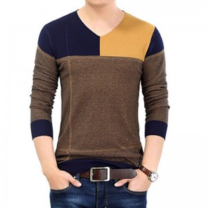 2018 New Long Tees Sweater Shirt Men V Neck Pullover Men Fashion Patchwork Pull Spring Autumn Spring Dress