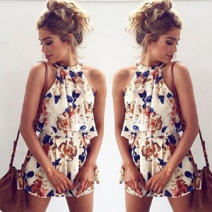 2018 Summer Sleeveless Rompers Mini Dress For Women Beach Outfit Set New Arrival Summer Wear For Ladies