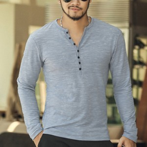 2018 Tee Tops Long Sleeve Stylish Slim Fit T Shirt Button Placket Casual Outwears Popular Design New Men Henley Shirt