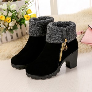 2019 autumn and winter new fashion youth European American warm waterproof platform thick high heel
