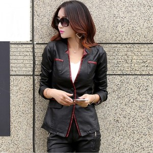 2019 Autumn New Women Leather Jackets Fashion Back Split Three Buttons Leather Blazer Outerwear Motorcycle Leather Coat