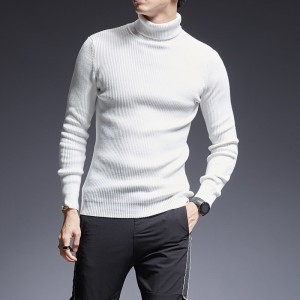 2019 Sweater Mens Pullover Turtleneck Slim Fit Jumpers Knitting Thick Autumn Korean Style Casual Clothing Men